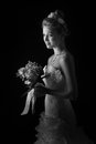 Beautiful bride isolated over black background Royalty Free Stock Photos
