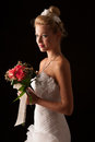 Beautiful bride isolated over black background Stock Photo