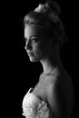 Beautiful bride isolated over black background Stock Images