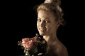 Beautiful bride isolated over black background Stock Photography