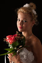 Beautiful bride isolated over black background Royalty Free Stock Photography