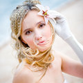 Beautiful bride with lily Stock Images