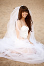 Beautiful bride with a long veil on the beach at sunset in short dress Royalty Free Stock Photography