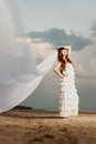 Beautiful bride with a long veil on the beach at sunset in short dress Stock Photo