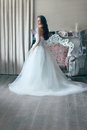 Beautiful bride in a magnificent white wedding dress of tulle with a corset shooted back young long brown wavy hair lush Royalty Free Stock Images