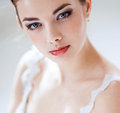 Beautiful bride portrait of woman in white dress Stock Images