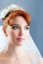 Beautiful bride portraite with perfect bridal make up and hairstyle Stock Photos