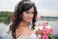 Beautiful bride posing in her wedding day Royalty Free Stock Photography