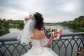 Beautiful bride posing in her wedding day Royalty Free Stock Photo