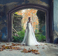 Beautiful bride posing in old ruined castle Royalty Free Stock Photo