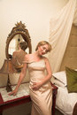 Beautiful bride in satin ivory pearl dress Royalty Free Stock Photo