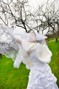 Beautiful bride with veil in wedding walk Stock Photo