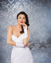 A beautiful bride on a vintage background young and over the Royalty Free Stock Photos