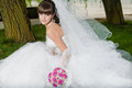 Beautiful bride in wedding dress on nature Stock Photos