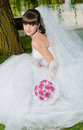 Beautiful bride in wedding dress on nature Stock Photography