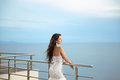 Beautiful Bride in wedding dress, outdoor portrait. Brunette ele Royalty Free Stock Photo