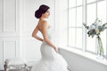 Beautiful bride. Wedding hairstyle make-up luxury fashion dress concept