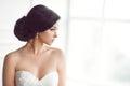 Beautiful bride. Wedding hairstyle make-up luxury fashion dress concept Royalty Free Stock Photo