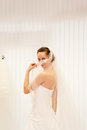 Beautiful bride in wedding white gown Stock Photos