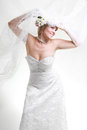 Beautiful bride in white veil Stock Photo