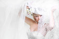 Beautiful bride in white veil Stock Photos