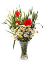 Beautiful bright bouquet of wild flowers, daisy, poppy and green wheat in glass vase isolated on white Royalty Free Stock Photo