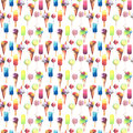 Beautiful bright colorful delicious tasty yummy cute summer dessert frozen juice ice cream in a waffle horn candies on a sticks