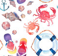 Beautiful bright colorful lovely summer marine beach pattern of flip flops red crabs pastel cute seashells blue lifebuoy and dark