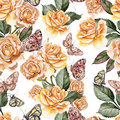 Beautiful Bright Colorful Watercolor Pattern With Rose Flowers a