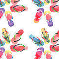 Beautiful bright comfort summer pattern of beach blue yellow flip flops with tropical palm design, red green flip flops, yellow or Royalty Free Stock Photo