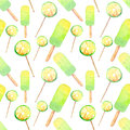 Beautiful bright delicious tasty yummy cute summer dessert fresh lime frozen juice ice cream and lemon citrus candies on a sticks