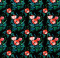 Beautiful bright floral pattern of red poppies with green leaves and heads on black background watercolor