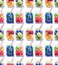 Beautiful bright fresh tasty juicy delicious lovely cute colorful detox bank with blue blackberry, mulberry and kiwi sliced, red c