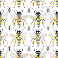 Beautiful bright graphic abstract cute lovely artistic vintage summer colorful vertical pattern of honey bees and black ants water Royalty Free Stock Photo