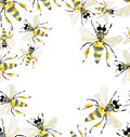 Beautiful bright graphic abstract cute lovely summer colorful frame of honey bees