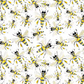 Beautiful bright graphic abstract cute lovely summer colorful pattern of honey bees
