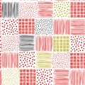Beautiful bright Hand drawn colorful ink seamless patterns vector hand sketch backgrounds of simple textures with dots, stripes
