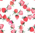Beautiful bright juicy tasty red pink strawberry circle pattern Royalty Free Stock Photo