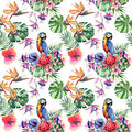 Beautiful bright lovely colorful tropical hawaii floral herbal summer pattern of tropical flowers hibiscus and orchids, palms leav
