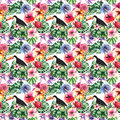 Beautiful bright lovely colorful tropical hawaii floral herbal summer pattern of tropical flowers hibiscus, palms leaves, lovely c