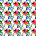 Beautiful bright lovely wonderful green tropical hawaii floral herbal summer colorful pattern of tropical flowers hibiscus and pal Royalty Free Stock Photo