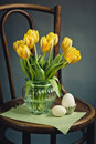 Beautiful bright yellow tulips still life glass vase antique wooden chair fresh white eggs Stock Photography