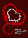 Beautiful brown color love background with red and white heart shapes vector illustration Royalty Free Stock Photos