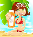 Beautiful brown hair girl with a cream for sunburn Royalty Free Stock Photos