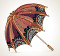 Beautiful brown umbrella color illustration Stock Photos