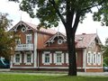 Beautiful brown wooden rebuild home, Lithuania Royalty Free Stock Photo