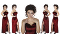 Beautiful brunet woman in red evening dress Royalty Free Stock Photo