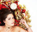 Beautiful brunette with Christmas decoration