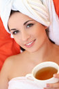 Beautiful brunette cute attractive in spa salon Stock Photography