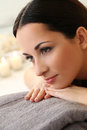 Beautiful brunette cute attractive in spa salon Stock Photo